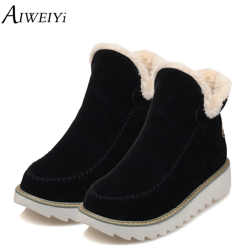 AIWEIYi Big Size 34-43 Women Ankle Boots Flock Round toe Gladiator Shoes Women Fur Warm Winter Shoes for Women Snow Boots Botas