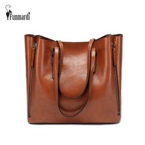 Image 1 - FUNMARDI Бренд Дизайн Восковая Кожаная Сумка Роскошные высококачественные женские сумки Высокоемкая Сумка Кожаная Сумка На Молнии WLHB1723B