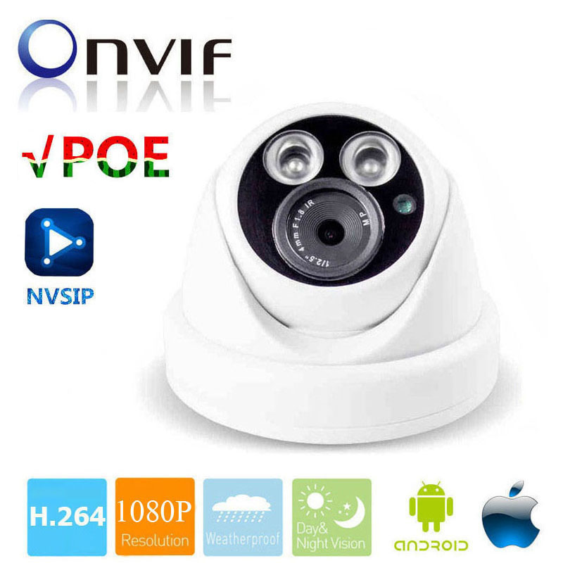 Dome IP Camera PoE 2MP Full HD 1080p Security ONVIF 2.0 CMOS IR Night Vision H.264 Waterproof Outdoor PoE CCTV Camera cctv cam ip camera 1080p hd outdoor waterproof pt onvif surveillance inspection dome security camera ir led