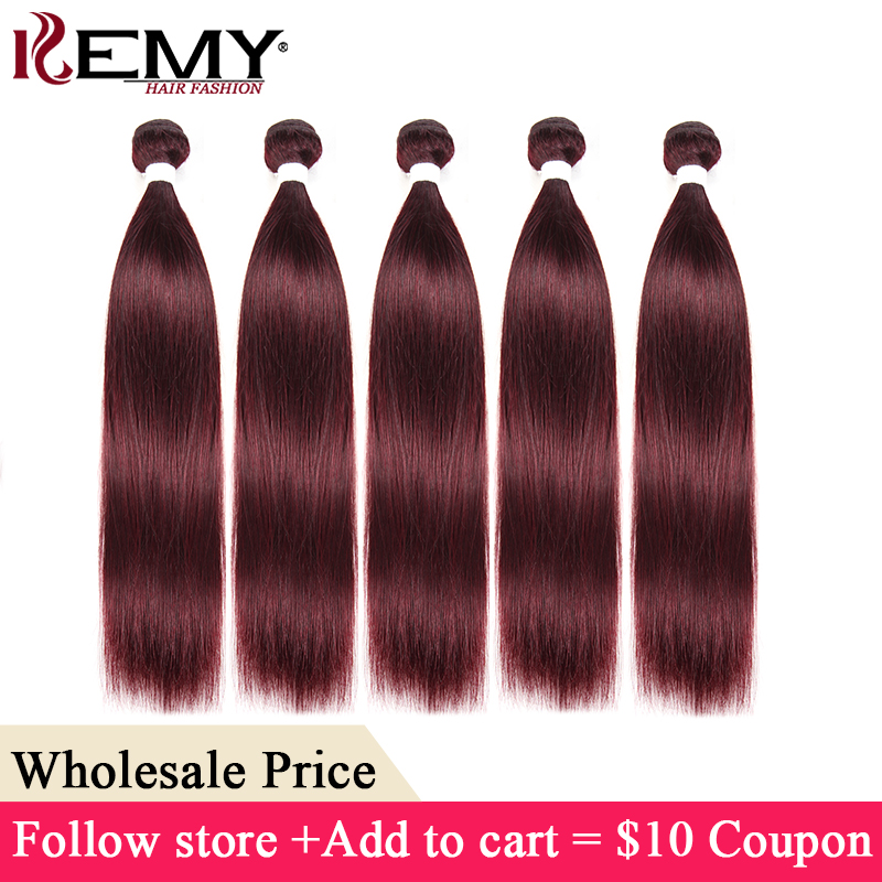 99J/Burgundy Red Color Brazilian Straight Human Hair Bundles 8-26 Inch Non-Remy Hair Weave Extension KEMY HAIR Wholesale Hair(China)