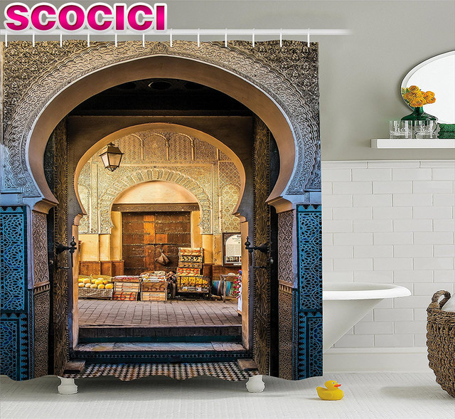 Moroccan Shower Curtain Typical Moroccan Door to Old Medina Mediterranean Historical Arch Entrance Photo Fabric Bathroom & Moroccan Shower Curtain Typical Moroccan Door to Old Medina ...