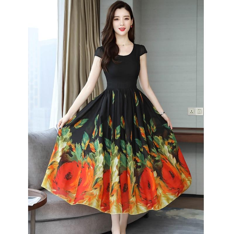 Floral Print Boho Beach Dress Women Summer Long Dress O neck Tunic Midi Dress Big Swing Party Sundress 2019 Vestido de festa in Dresses from Women 39 s Clothing