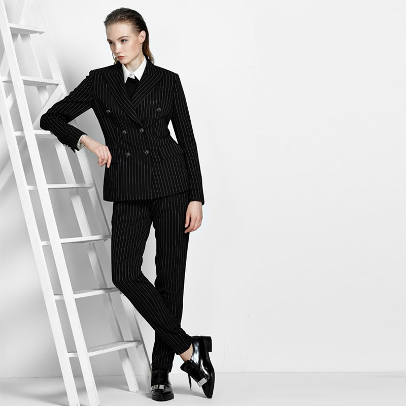Women Pant Suits Stripe Fashionable Style OL Career Dress Formal Business Leisure Suit Double-breasted Handsome Women Suits