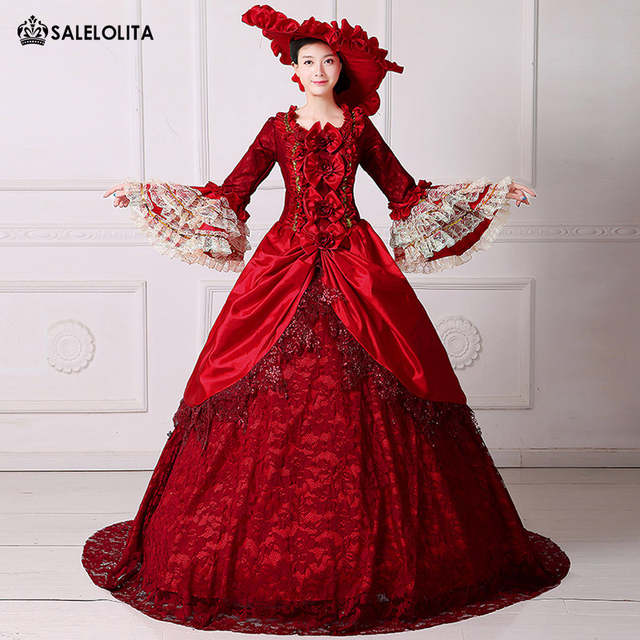 2017 Brand New Renaissance Elizabeth Reenactment Dress 18th Century  Medieval Marie Antoinette Dress with Train Theatre Costume