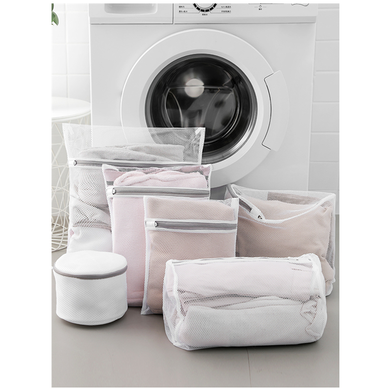 Zippered Laundry Mesh Bag Caring Clothes Washing Bag Set For Washing Machine Underwear Bras Washing Bag White Washer Bag 7pcs