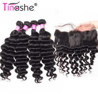 Tinashe-extensiones de pelo ondulado brasileño cabello humano Remy con encaje Frontal, mechones sueltos de ondas profundas con cierre Frontal