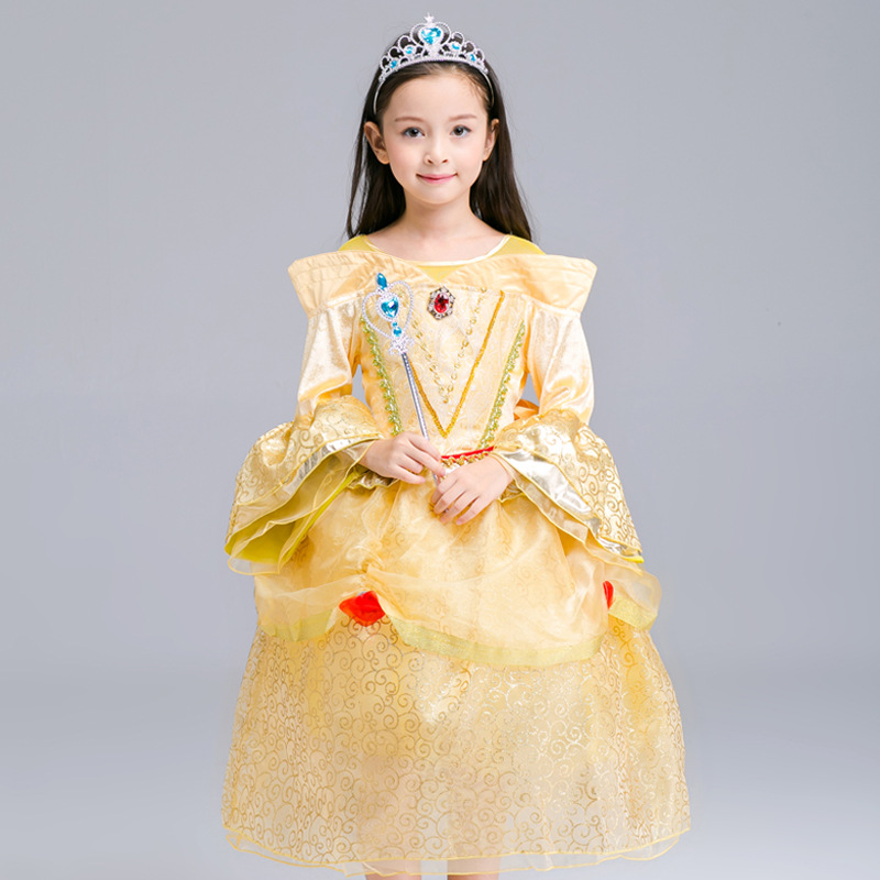 2017 Halloween Bell Dress Beauty And Beast Cosplay Dresses For Girls Belle Princess Kids Girl Costumes Christmas Vestido Cloth подарочный набор bell bell defines beauty 29 bell