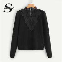 Sheinside Floral Lace Applique Solid Jumper Black Pullover Women Sweater 2018 Autumn Fashion Womens Sweaters And Pullovers