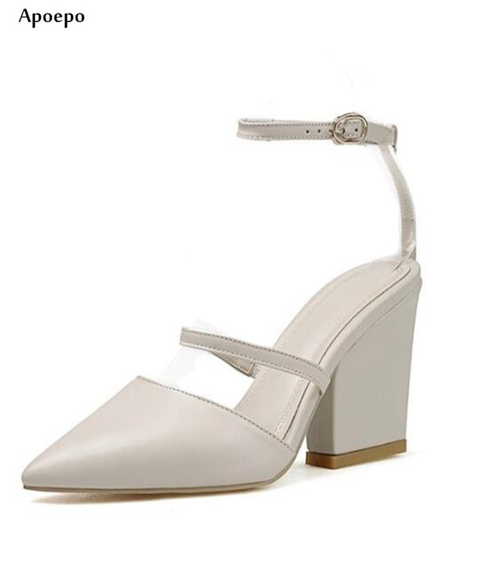 Apoepo 2018 Summer Newest Pointed Toe Thick Heels Sandal White Leather Buckle Strap High Heel Shoes Woman Sexy Sandal 2017 newest summer black brown leather sandal for woman sexy open toe flat crystal sandal sequins bead t strap buckle shoes