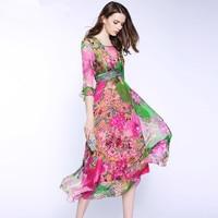100 Pure Silk Dresses 2017 Summer High Quality Bohemian Flare Sleeve Floral Printed Maxi Beach Dress
