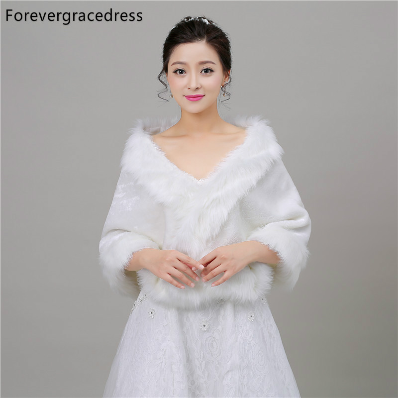 Forevergracedress Real Photos White Faux Fur Stoles Wedding Wrap Winter Bolero Jacket Bridal Accessories Cape Cloak In Stock