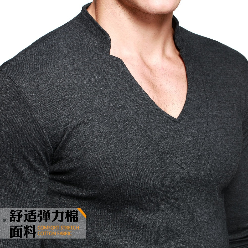 Thick T Shirt Men's Long Sleeve Brand Tee V neck T Shirt For Man ...