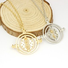 High Quality Harry Potter Time Turner Necklace Hermione Granger Rotating Spins Hourglass Small Size Necklace(China (Mainland))