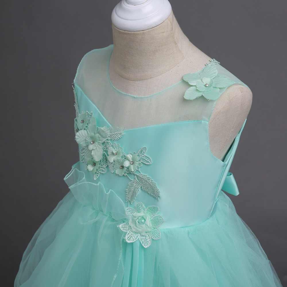 Vestidos de Fiesta de noche de niña de flor gris para niños de 5 a 10 11 12 13 años vestido de novia con flores tamaño 14