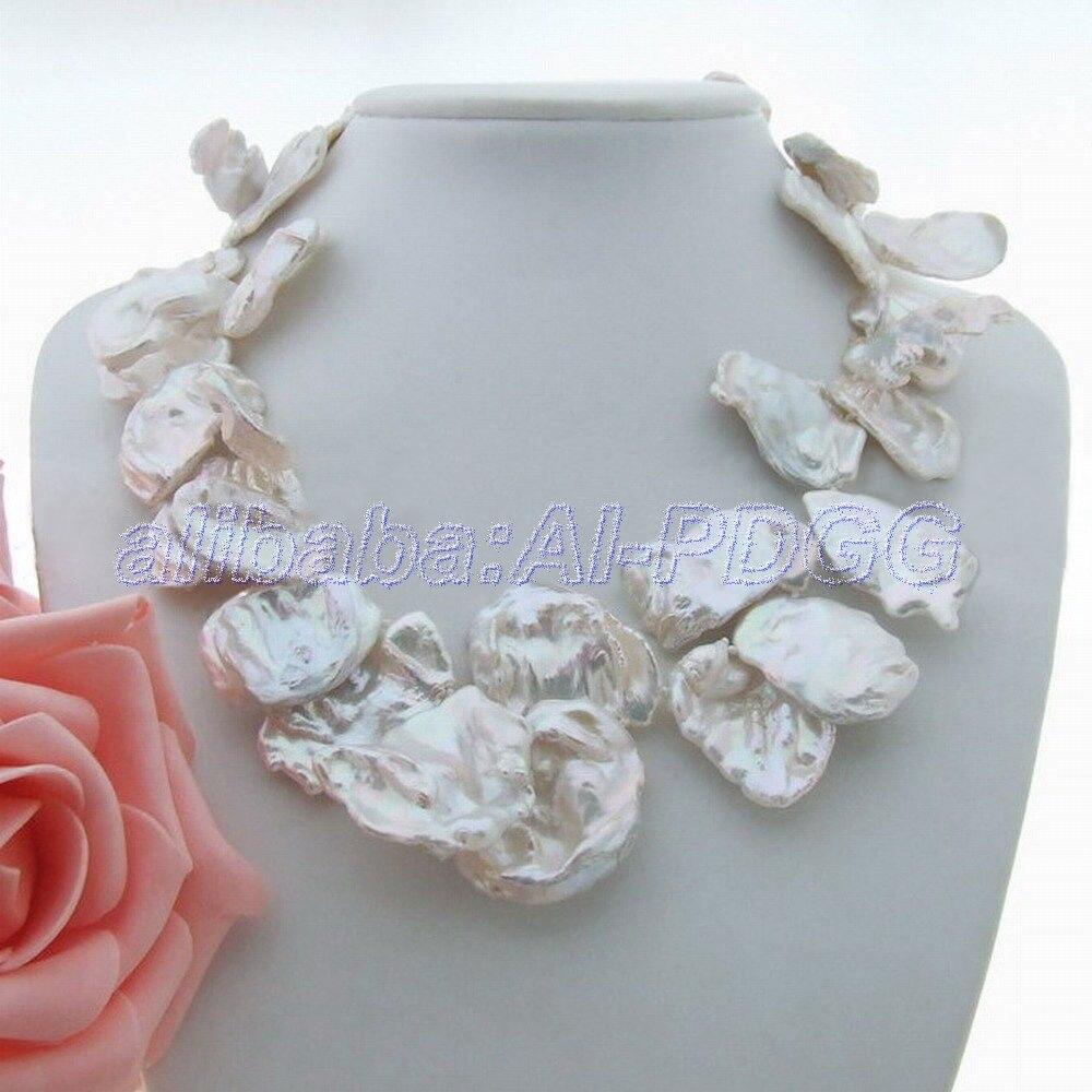 Collier de perles GG blanc Keshi