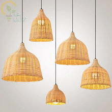 Chinese Rural Style Handmade Rattan Weaving Pendant Lights for Restaurant Cafe,Originality Bamboo Wrought Loft Hanging Lamp(China)