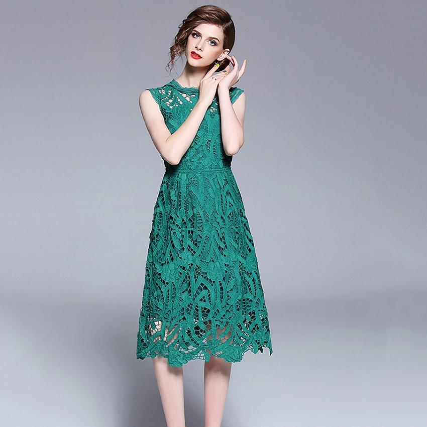 2018 Dentelle D'été Robe Sans Manches Vert Sexy Femmes Mode Élégante Partie Robes Évider Midi Robe Tunique Robes Mujer