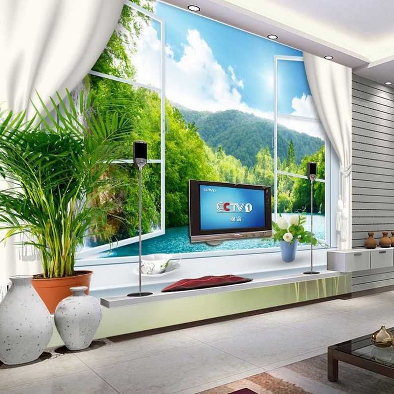 Beibehang customize hd mural 3d wallpaper window sea for Cost of a mural