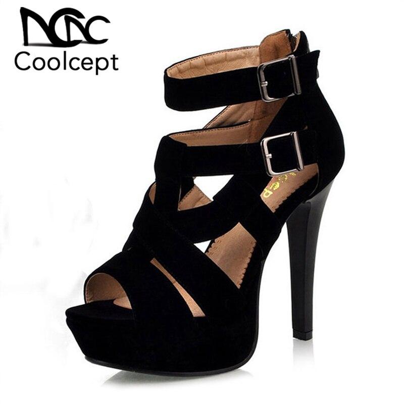 c32e7d3b0 Comprar Coolcept senhoras sandálias de salto alto fino saltos sapatas de  vestido saltos rebanho moda mulheres sexy moda 34 H936 tamanho venda Quente  39 ...