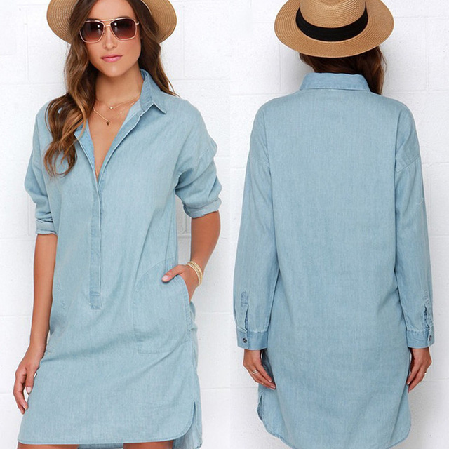 143a87aa146 European Women Long-sleeved Loose Shirt Denim Dress Female Autumn Side Slit  Lapels Simple Jeans