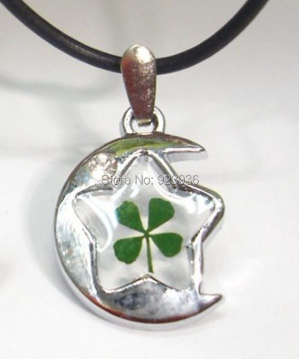 Free Shipping $46  50pcs REAL GREEN SHAMROCK FOUR LEAF CLOVER MAGIC MOON&STAR STYLE PENDANT