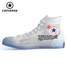 1970s Original Converse OFF WHITE lucency all star Vintage shoes men and women unisex sneakers  Skateboarding Shoes 162204C