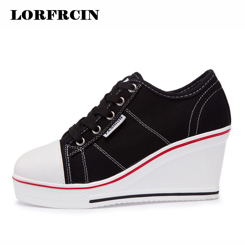 LORFRCIN Women Canvas Shoes 8cm Height Increasing Platform Shoes Woman Wedges Trainers High Heel Top Casual Shoes Tenis Feminino large size 8cm high 2016 women casual canvas shoes woman platform wedges high top with zippers ladies zapatos mujer espadrilles