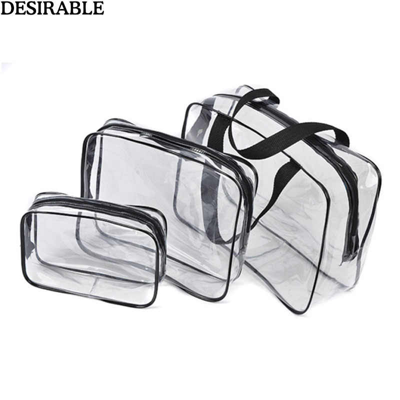 Transparent PVC Travel Toiletry Bag Clear Necessary Makeup Organizer Beautician Cosmetic Pocket Beauty Case Bathe Pouch Wash Bag