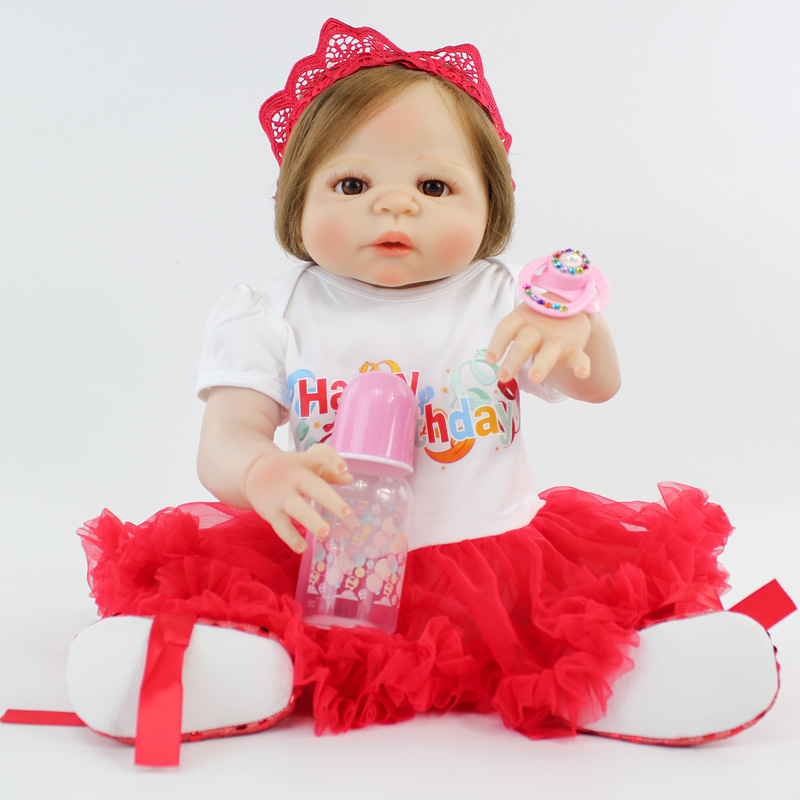 55cm Full Silicone Reborn Baby Girl Realistic 22 Vinyl Newborn Bebe Princess Toddler Dolls Waterproof Body Lovely Birthday Gift 55cm victoria soft vinyl reborn baby dolls in pink dress 22 inch full vinyl newborn bebe reborn doll princess girl birthday gift