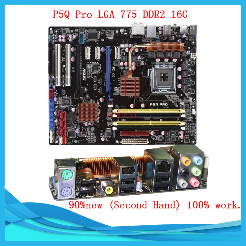 original Used Desktop motherboard For ASUS P5Q Pro P45 Support Socket LGA 775 Maximum DDR2 16GB SATA2 USB2.0 ATX asus g31m s support ddr2 775 pin integrated small board g31m g31 motherboard