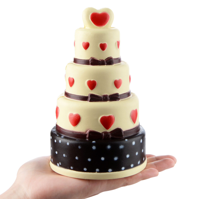 18CM Jumbo 4 Layer Red Heart Cake Squishy Soft Slow Rising Chocolate Cake Kids Doll Toys Phone DIY Decor Squeeze Fun Gift P20