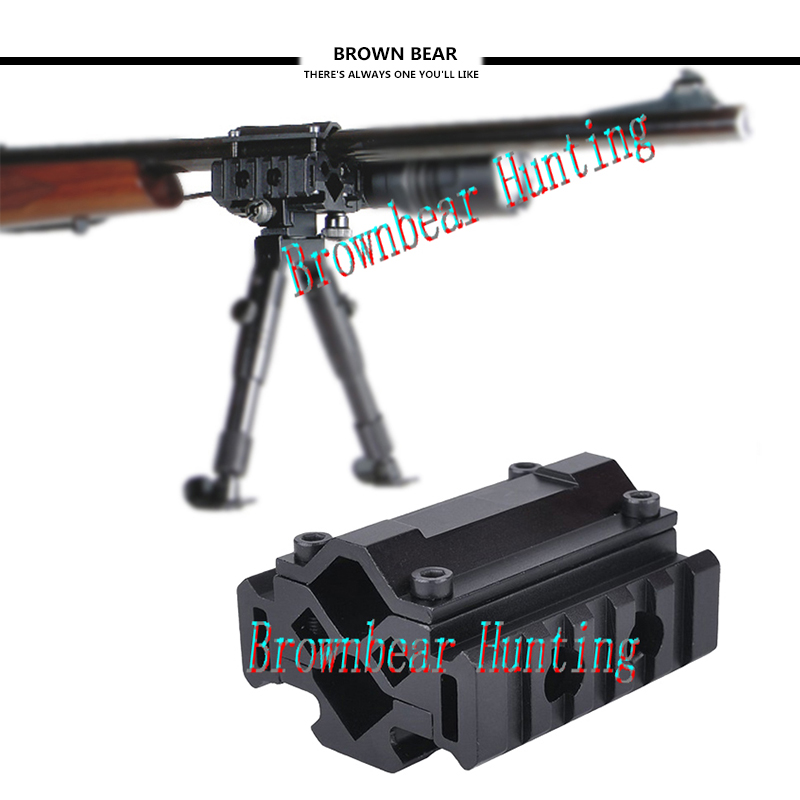 Tactical Triple Side Tri-Rail Barrel Mount- 5 Slots 21mm Picatinny and Weaver Rails Attach Laser Grip Flashlight and Bipod