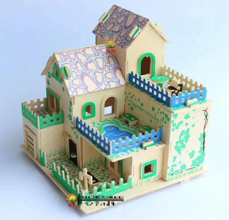 Creative 3d Wood Puzzles Diy Craft House Model House Building Model Assembling Villa Child Kids Toys