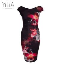 2017 patrones de impresión elegante de las mujeres más el tamaño de trabajo lápiz oficina bodycon dress longitud de la rodilla de verano floral de la flor de fiesta informal negro