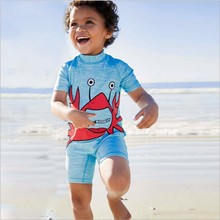 Boy Swimsuit 2-8 Years Short Sleeve Baby Swimwear Cartoon for Boys Kids One Piece Swimming Suits Beach