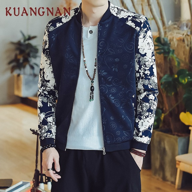 9eec54d9d US $24.99 40% OFF|KUANGNAN Chinese Style Floral Patchwork Jacket Men Hip  Hop Bomber Jacket Men Japanese Streetwear Mens Jackets Coats 2018 Autumn-in  ...