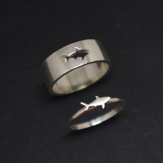 Oceano tubarão jóias anel tubarão amantes presente simples anéis delicados para o presente do amante ylq6391