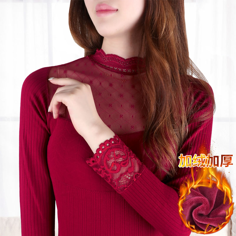 In Winter With Thick Warm Cashmere Turtleneck Lace Underwear Long Sleeved Johns Cuffs Slim Jacket Thermal Velet Women T-shirt