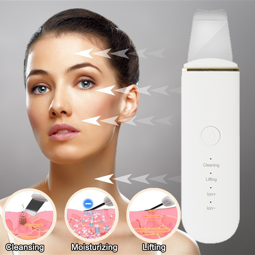 Rechargeable Ultrasonic Skin Scrubber Deep Face Cleaning Machine Remove Dirt Blackhead Reduce Wrinkles Spots Facial Whitening