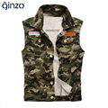 Men's casual water washed camouflage vest Male slim badge coat Tank top Free shipping