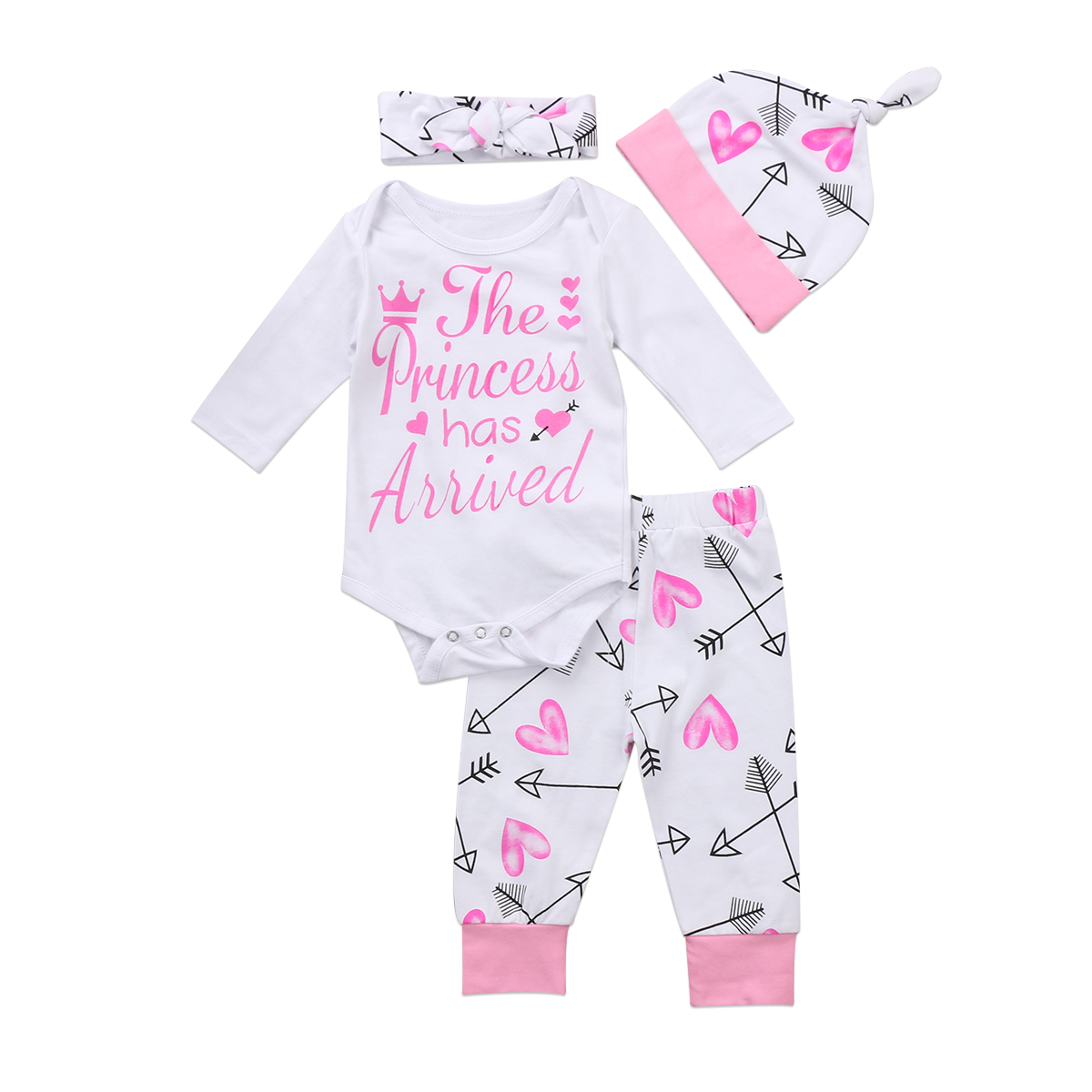 New Fashion 4PCS Newborn Infant Baby Girls Clothes Playsuit Romper Pants Long Sleeve Pant Hat Headband Outfit Set