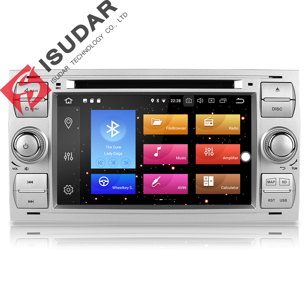 Isudar Car Multimedia Player GPS Android 8.0 2 Din Stereo System Radio For Ford/Focus/Mondeo/Kuga Octa Core Wifi Microphone DVR