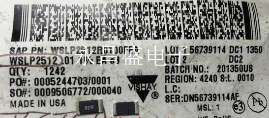 New and original WSLP2512R0100FEA  2512 R01F 0.01R 1% 75PPM 3WAlloy resistance