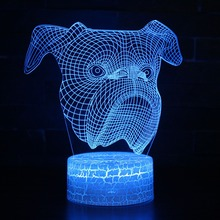 цена French Bulldog 3D LED Night Lamp 7 Colors USB Hologram Decor Lamp Table Desk Lights Birthday Party Gift Toy For Children Friends онлайн в 2017 году