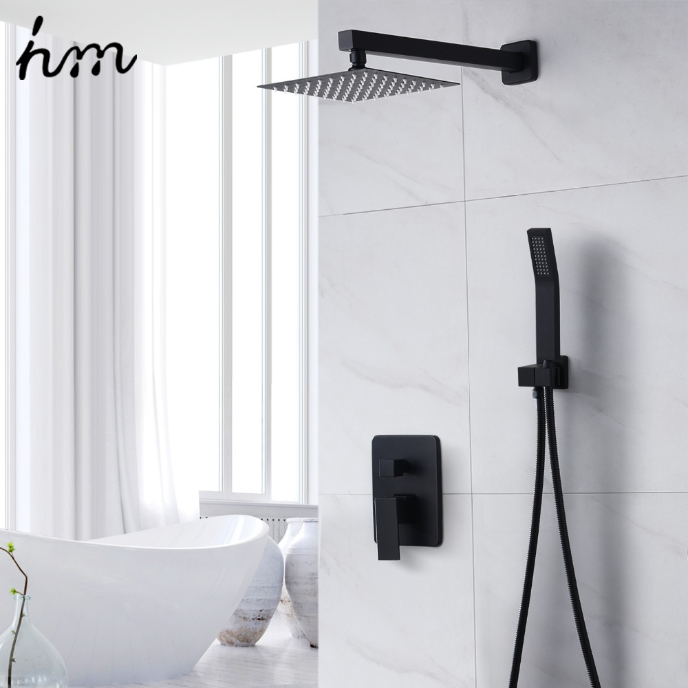 hm 8 Matte Black Shower System Contain Shower Faucet Rough-in Valve Body and Shower Sethm 8 Matte Black Shower System Contain Shower Faucet Rough-in Valve Body and Shower Set