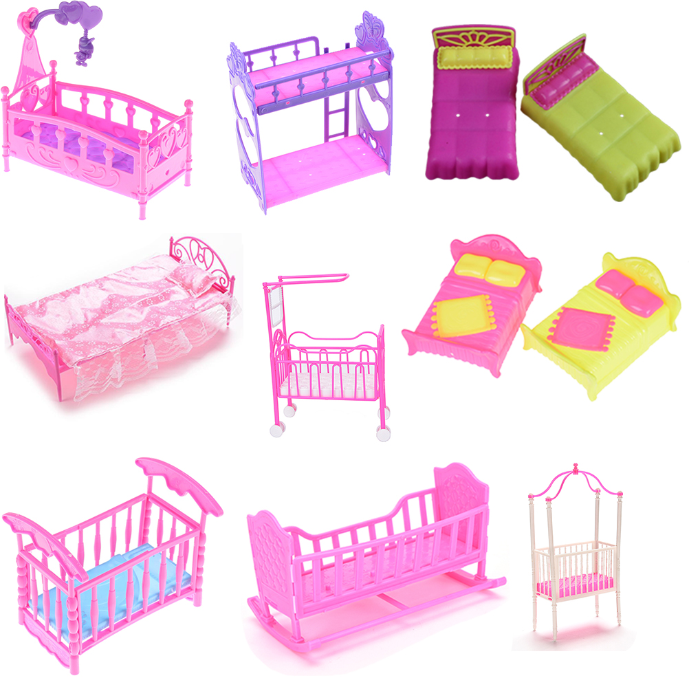 1pcs 9 Styles Fashion Plastic Bed Bedroom Furniture For Girl Dolls Dollhouse Pink Yellow Or Purple Girl Birthday Gift
