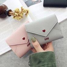 cute love heart embroidery letters lychee pattern simple fashion 3 fold wallet  2019 women wallets multi-function purse