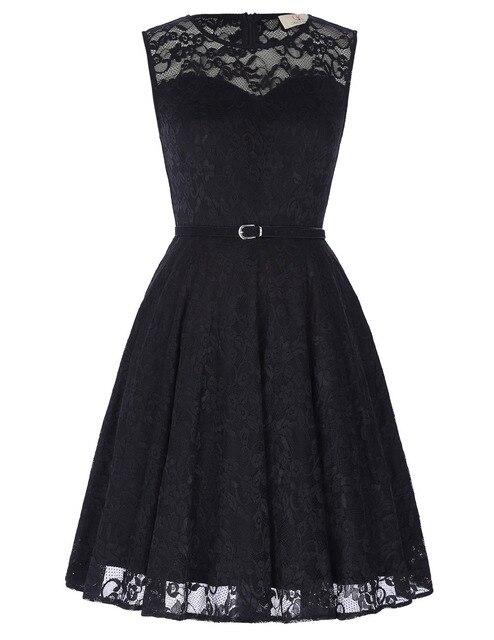 Women sexy black floral lace flared 2017 plus size o-neck retro big swing casual party vestidos rockabilly vintage dresses