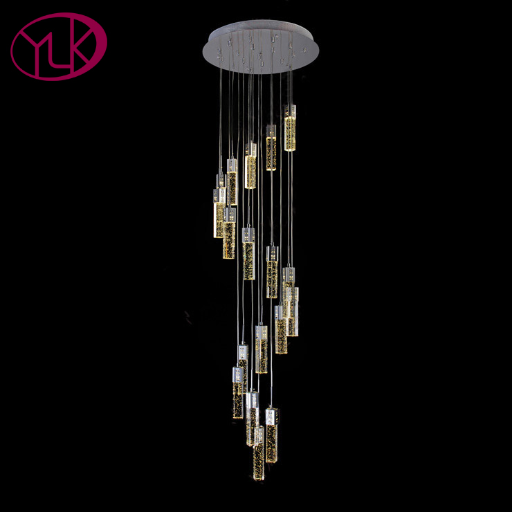 Youlaike Spiral Crystal Chandelier For Stair Modern Living Room LED Crystal Light Long Hotel Hall Lustres Cristal Lamps new modern chandelier led crystal lamps long pendant chandelier lustres de cristal kronleuchter ac110 240v stair chandelier