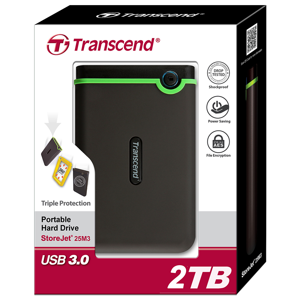 Transcend 25M3 USB 3.0 Encryption External Hard Drive 2TB HDD Hard Disk Drive 2T Portable Storage For PC Laptop Notebook Desktop экшн камера transcend drive pro body 10 ts32gdpb10a